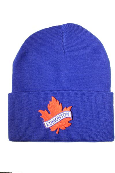 EDMONTON - Edmonton Red Maple Leaf Patch Toque HAT .Colors Available : Red, Blue, Pink.New
