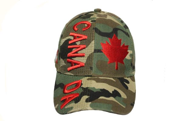 Canada Country Flag, Red Maple Leaf Forest Camouflage Embossed HAT Cap New