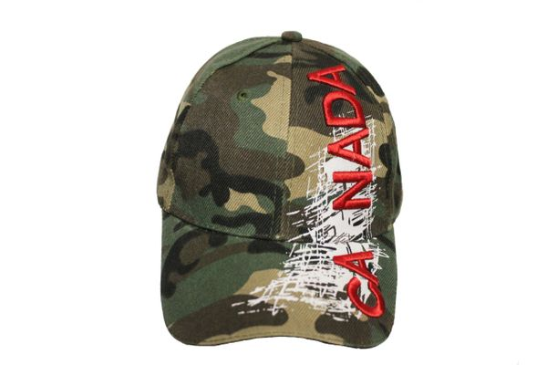 Canada Country Flag, White Stripes Forest Camouflage Embossed HAT Cap New