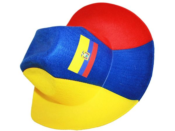 ECUADOR YELLOW BLUE RED COUNTRY FLAG , COWBOY STYLE HAT .. NEW