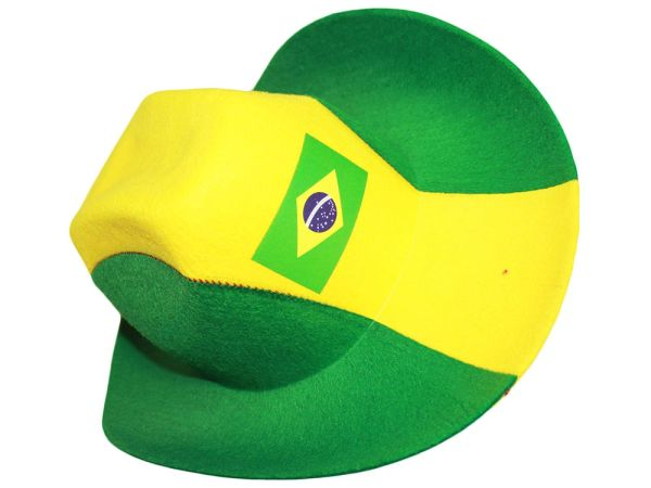 BRASIL GREEN YELLOW COUNTRY FLAG , COWBOY STYLE HAT .. NEW