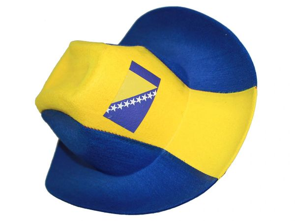 BOSNIA BLUE YELLOW COUNTRY FLAG , COWBOY STYLE HAT .. NEW