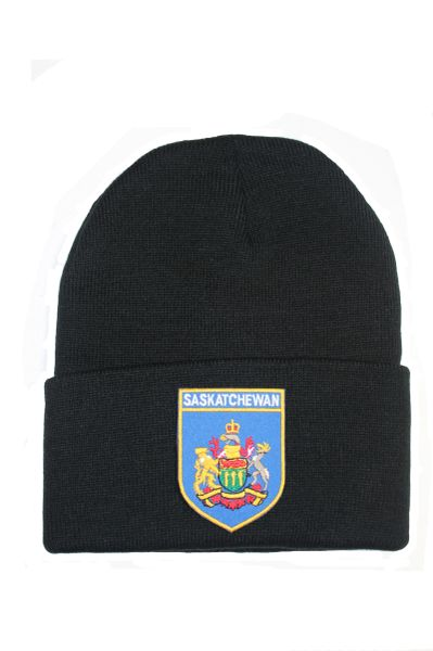 SASKATCHEWAN - Blue Shield Shape Patched Toque HAT .Colors Available : Black, Red, Blue Pink.New