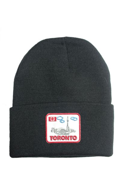 Toronto, Canada Country Flag, Landmarks Patched BRIM Toque HAT .Colors Available : Black, Red, Blue Pink.New