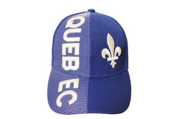 QUEBEC , FLEUR DE LIS , QUEBEC - CANADA Provincial Flag EMBOSSED HAT CAP