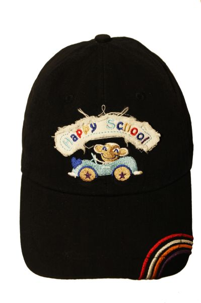 HAPPY SCHOOL DRIVING MONKEY HAT CAP.. For KIDS 4 - 8 Years.. Colors : Black , Navy , Blue , Red , Khaki