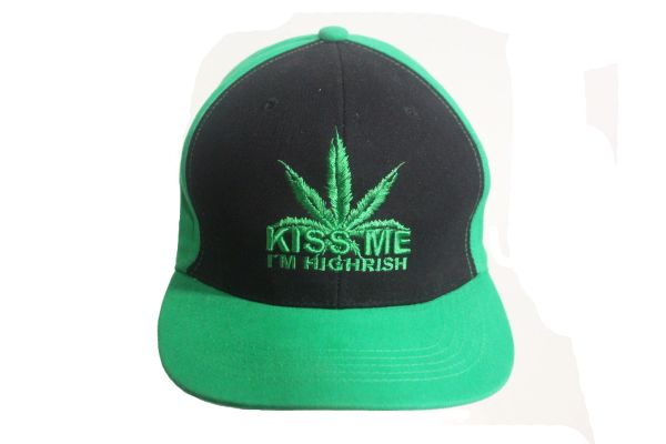 KISS ME I'M HIGHRISH WEED LEAF Embroidered HIP HOP Hat Cap