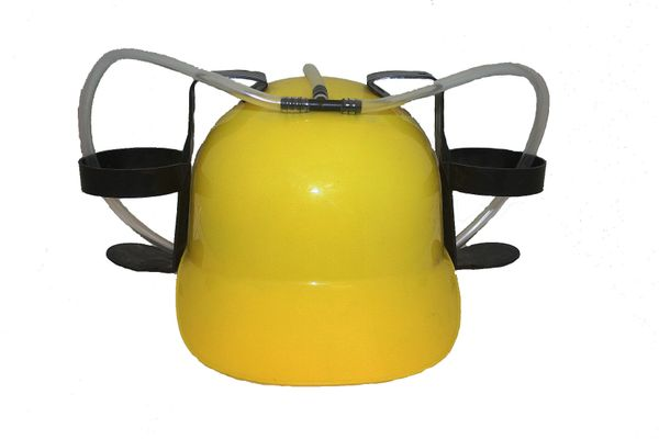 YELLOW DRINKING HAT FOR ADULTS & KIDS .. HIGH QUALITY .. NEW