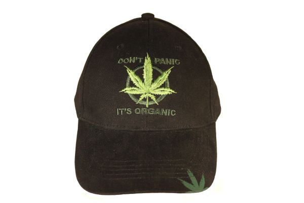 """DON""""T PANIC IT""""S ORGANIC WEED LEAF Embroidered Hat Cap"""