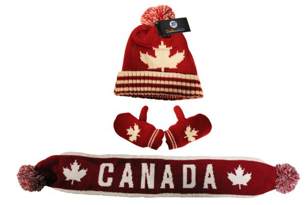 CANADA Maple Leaf - KID'S Winter Set : TOQUE HAT , SCARF , GLOVES.. Ages : 2 - 4 Years