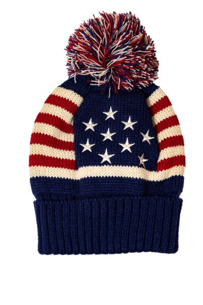 USA Country Flag WINTER HAT With POM POM