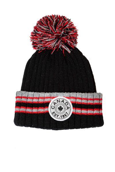 CANADA EST. 1867 BLACK With RED - GRAY Stripes WINTER HAT With POM POM