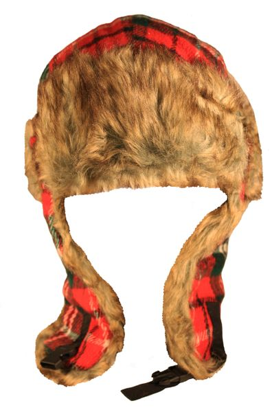 Plaid Pattern Adults TRAPPER Furry Winter HAT .. Different Colors..Fits To : S , M