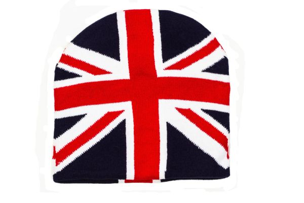 UNITED KINGDOM Flag Black WINTER BEANIE TOQUE HAT