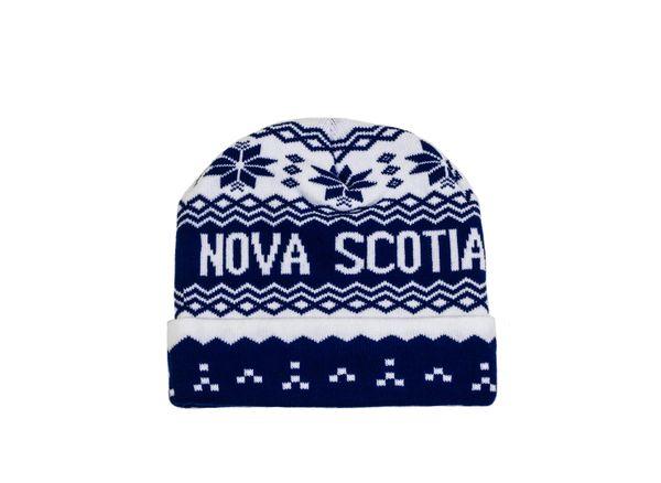 NOVA SCOTIA - CANADA Province White - Blue BEANIE TOQUE HAT...( NSC-TQ2-1 )
