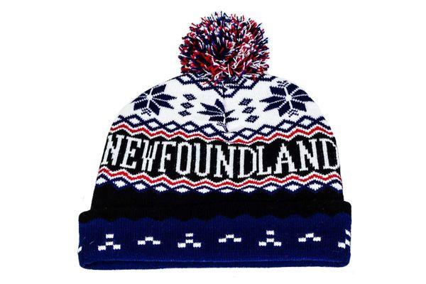 NEWFOUNDLAND - CANADA Province With Snow Flakes WINTER HAT With POM POM..( NFD-TQ4 )