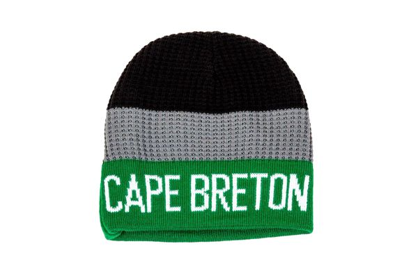 CAPE BRETON ISLAND - CANADA NOVA SCOTIA Province GREEN-GRAY-BLACK Stripes BEANIE TOQUE HAT.. ( CBR-TQ6-1 )