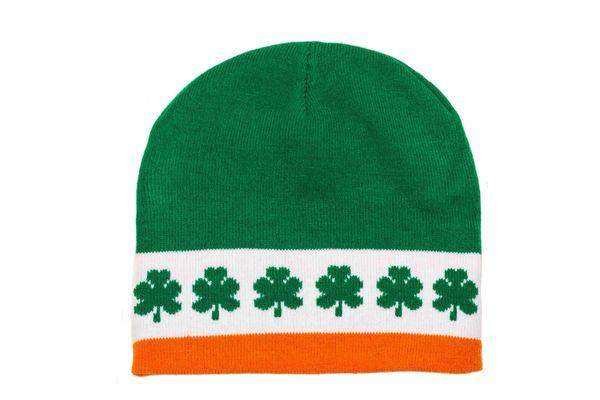 IRELAND Green-Orange , SHAMROCK FLOWERS BEANIE TOQUE HAT.. ( IRE-TQ1-1 )