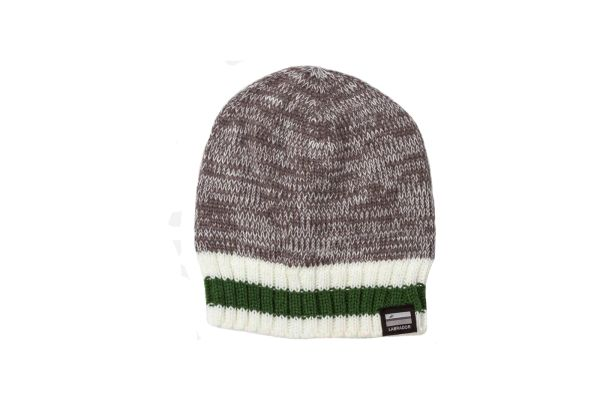 LABRADOR - CANADA Provincial Flag, GRAY With Green - White Stripes BEANIE TOQUE HAT .. ( LAB-TQ5- G scaled ).
