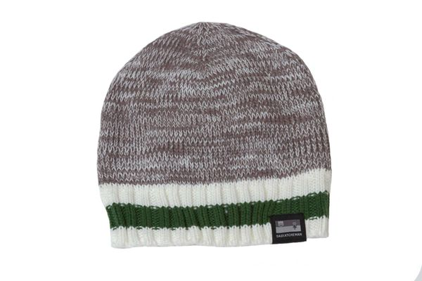 SASKATCHEWAN - CANADA Provincial Flag , GRAY With Green - White Stripes BEANIE TOQUE HAT .. ( SAS TQ1-1 )