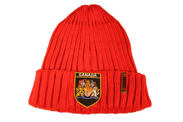 CANADA Royal Coat Of Arms BLACK Patch , Red Warm BEANIE TOQUE HAT