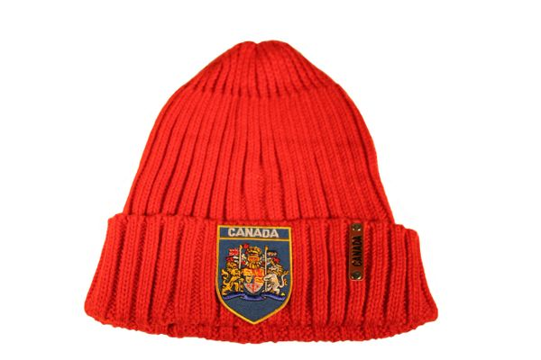 CANADA Royal Coat Of Arms BLUE Patch Red Warm BEANIE TOQUE HAT