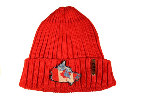 CANADA Country Shape Patch Red Warm BEANIE TOQUE HAT