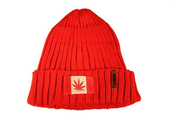 MARIJUANA CANADA Flag -Patch Red Warm BEANIE TOQUE HAT