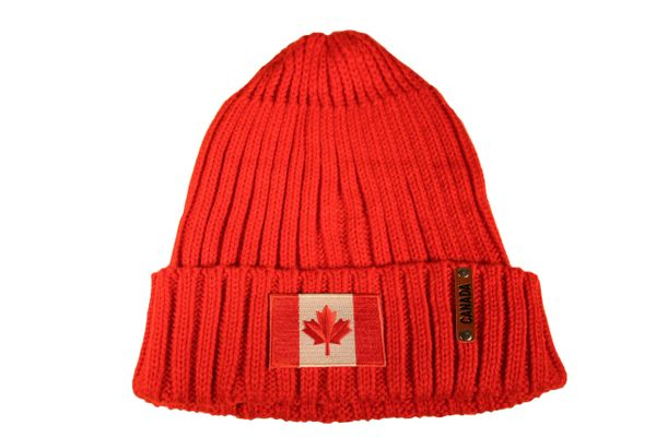 CANADA Country Flag Rectangle Patch Red Warm BEANIE TOQUE HAT