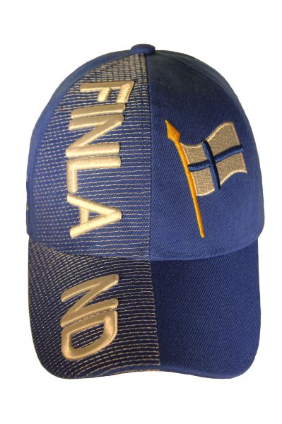 FINLAND BLUE Country Flag Embossed HAT CAP