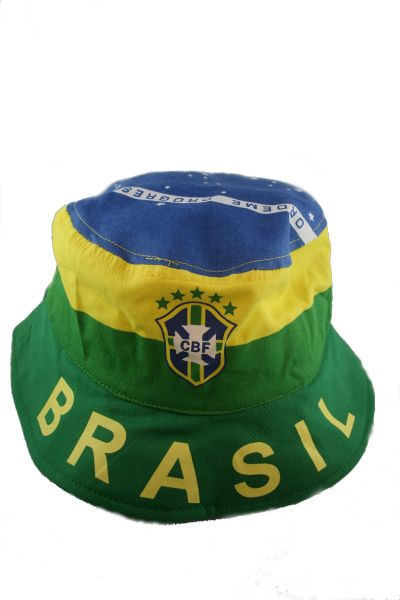BRASIL , 5 STARS , CBF LOGO FIFA SOCCER WORLD CUP BUCKET HAT CAP .. NEW