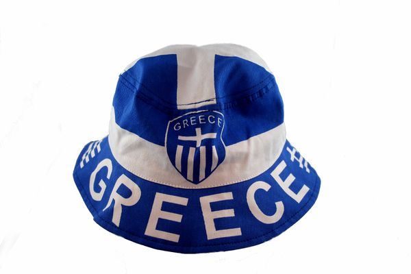 GREECE COUNTRY FLAG ADULTS BUCKET HAT CAP .. SIZE 59 Cm OR 7 3/8 NEW