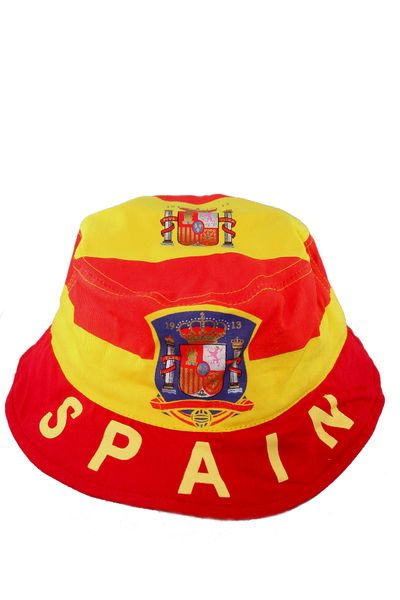 SPAIN COUNTRY FLAG WITH PICTURE BUCKET HAT CAP .. NEW