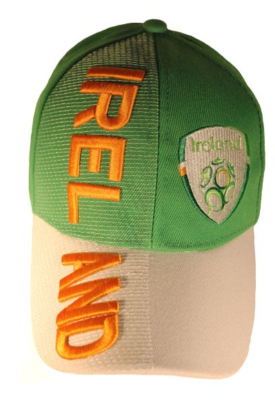 IRELAND Country Flag Green White Embossed HAT CAP