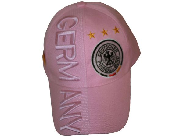GERMANY PINK , 3 STARS , DEUTSCHER FUSSBALL - BUND LOGO FIFA SOCCER WORLD CUP EMBOSSED HAT CAP .. FOR LADIES .. NEW