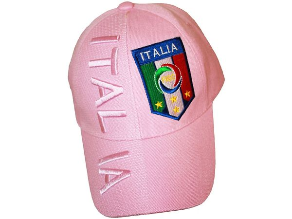 ITALIA ITALY PINK , FIGC LOGO FIFA SOCCER WORLD CUP EMBOSSED HAT CAP .. FOR LADIES .. NEW