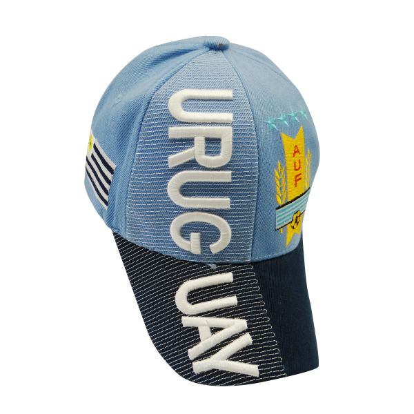 URUGUAY BLUE BLACK COUNTRY FLAG , AUF LOGO FIFA SOCCER WORLD CUP EMBOSSED HAT CAP .. NEW