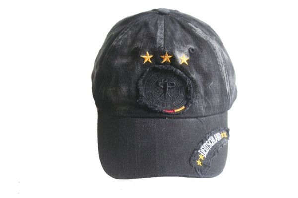 DEUTSCHLAND BLACK ACID - WASHED , 3 STARS , DEUTSCHER FUSSBALL - BUND LOGO FIFA SOCCER WORLD CUP EMBOSSED HAT CAP .. NEW