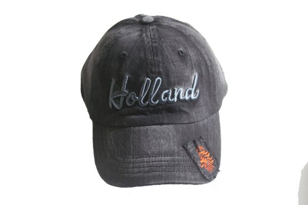HOLLAND BLACK ACID - WASHED KNVB LOGO FIFA SOCCER WORLD CUP EMBOSSED HAT CAP .. NEW