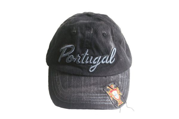 PORTUGAL BLACK ACID - WASHED FPF LOGO FIFA SOCCER WORLD CUP EMBOSSED HAT CAP .. NEW