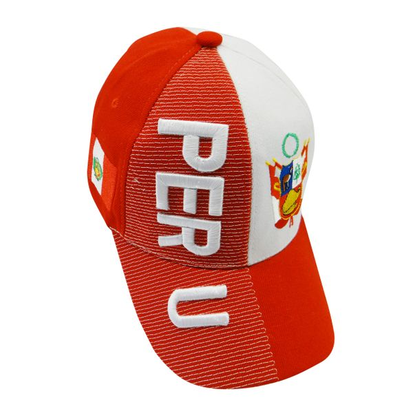 PERU RED WHITE COUNTRY FLAG , EMBOSSED HAT CAP.. NEW