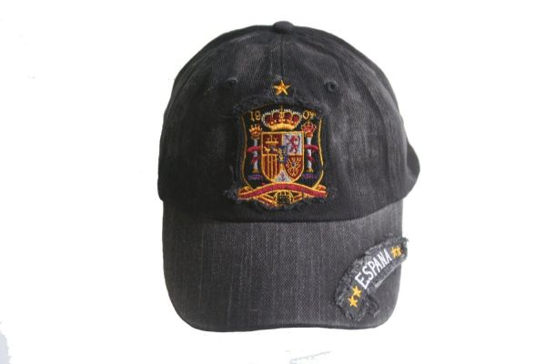 ESPANA SPAIN BLACK ACID - WASHED ,1 STAR , FIFA SOCCER WORLD CUP EMBOSSED HAT CAP .. NEW