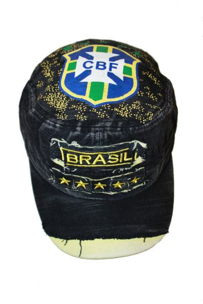 BRASIL BLACK ACID - WASHED WEAR - LOOK MILITARY STYLE CBF LOGO FIFA SOCCER WORLD CUP EMBOSSED HAT CAP .. NEW