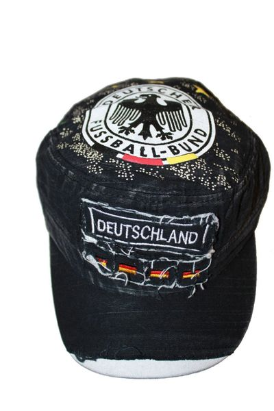 DEUTSCHLAND BLACK ACID - WASHED WEAR - LOOK MILITARY STYLE , DEUTSCHER FUSSBALL - BUND LOGO FIFA SOCCER WORLD CUP EMBOSSED HAT CAP .. NEW