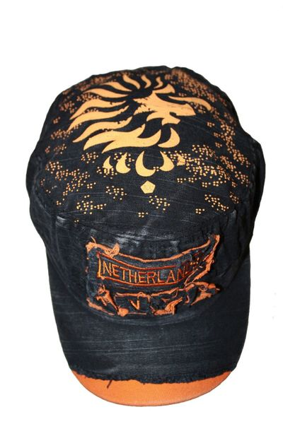 NETHERLANDS BLACK ACID - WASHED WEAR - LOOK MILITARY STYLE KNVB LOGO FIFA SOCCER WORLD CUP EMBOSSED HAT CAP .. NEW