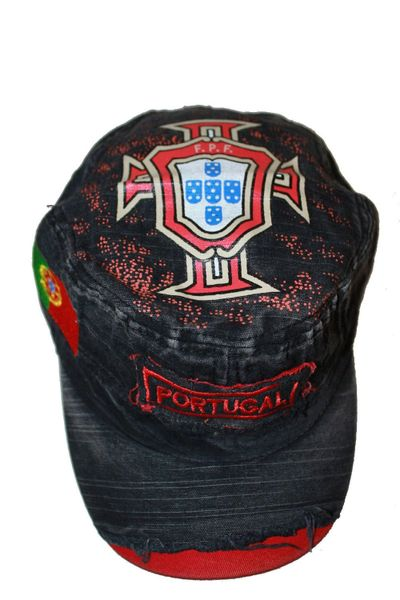 PORTUGAL BLACK ACID - WASHED WEAR - LOOK MILITARY STYLE FPF LOGO FIFA SOCCER WORLD CUP EMBOSSED HAT CAP .. NEW