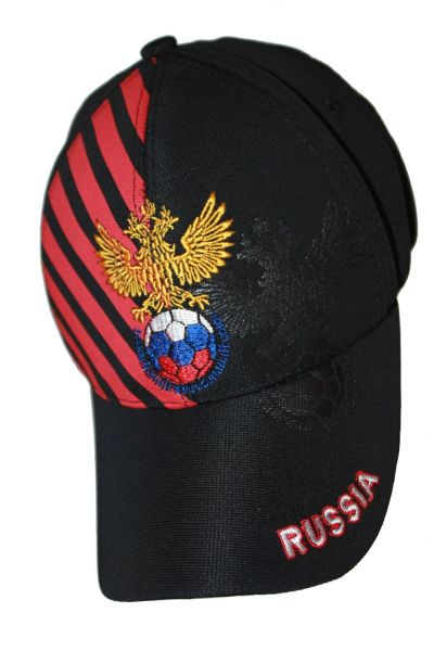 RUSSIA BLACK WITH RED STRIPES FIFA SOCCER WORLD CUP FLEXFIT HAT CAP .. NEW