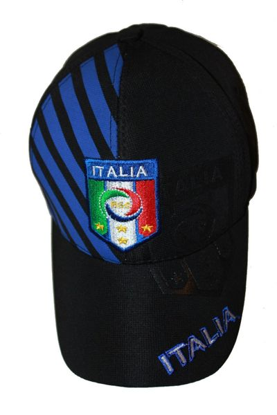 ITALIA BLACK WITH BLUE STRIPES , 4 STARS , FIGC LOGO FIFA SOCCER WORLD CUP FLEXFIT HAT CAP .. NEW