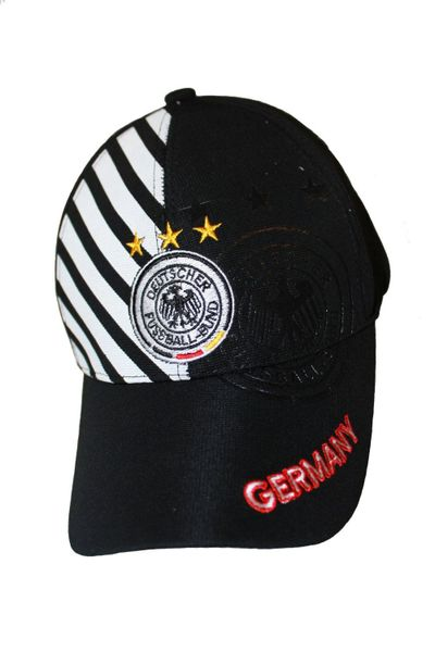 GERMANY BLACK WITH WHITE STRIPES , 3 STARS , DEUTSCHER FUSSBALL - BUND LOGO FIFA SOCCER WORLD CUP FLEXFIT HAT CAP .. NEW