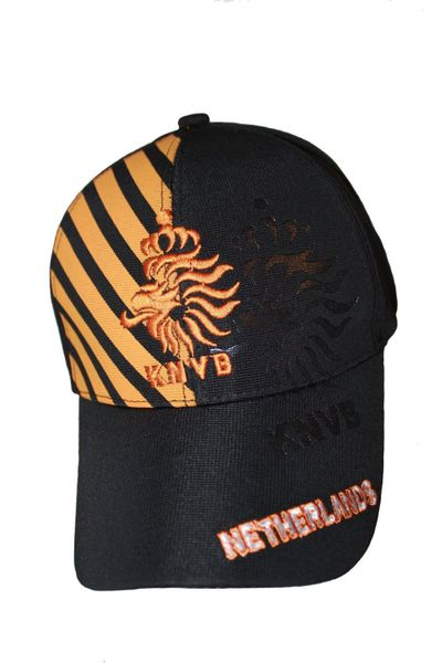 NETHERLANDS BLACK WITH ORANGE STRIPES KNVB LOGO FIFA SOCCER WORLD CUP FLEXFIT HAT CAP .. NEW